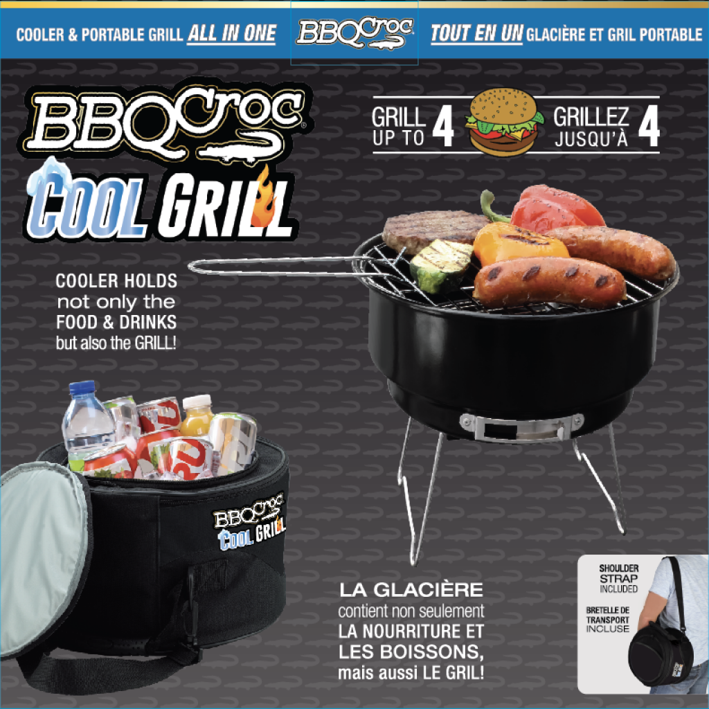 Packaging front for the BBQ Croc COOL GRILL 2 in 1 COOLER & PORTABLE GRILL COMBO PACK BY BBQ Croc