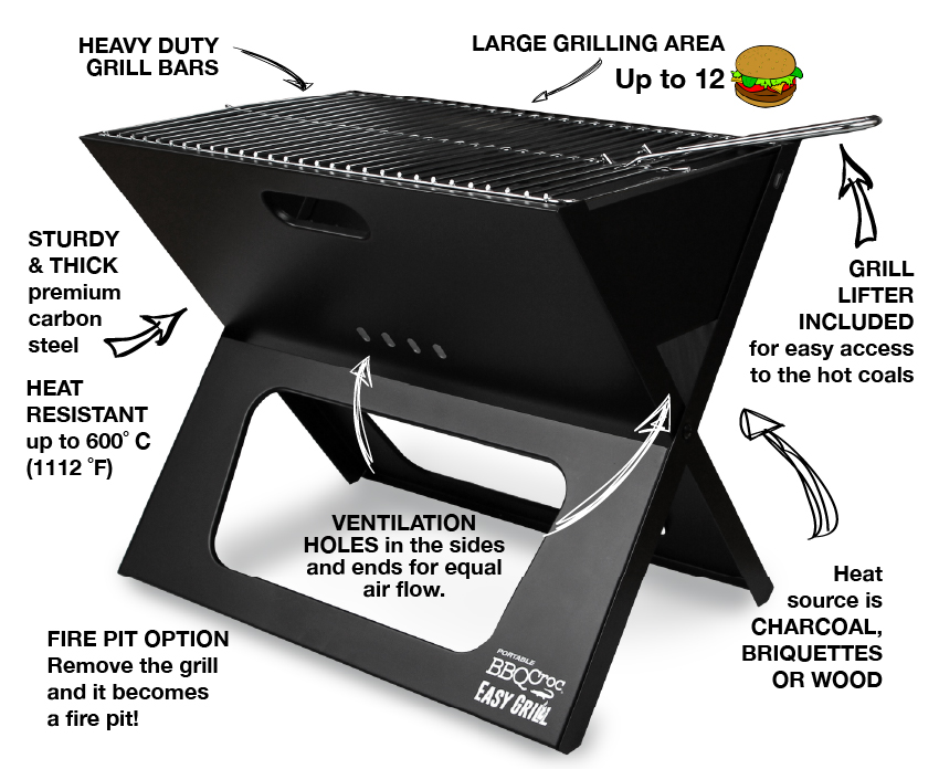 BBQ Croc EASY GILL - The best foldable and portable charcoal grill
